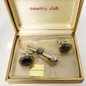 Vintage Silver/Black Onyx Cuff Links & Tie Pin